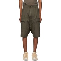 Rick Owens Taupe Drawstring Cargo Pods Shorts