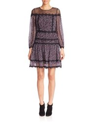 Diane Von Furstenberg Jamie A Line Dress Pirouette Dot Navy Black