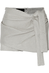 Jay Ahr Wrap Effect Coated Stretch Knit Shorts