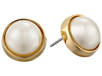 Lauren Ralph Lauren Bar Harbor 10Mm Bezel Set Pearl Stud Earrings Pearl Gold Earring Bone