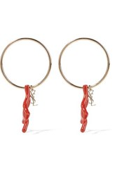 Saint Laurent Gold Tone And Faux Coral Hoop Earrings Red