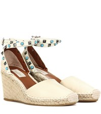 Valentino Rockstud Rolling Leather Wedge Espadrilles Beige