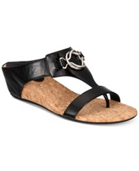 Impo Guevera Slip On Thong Wedge Sandals Women's Shoes Black Patent