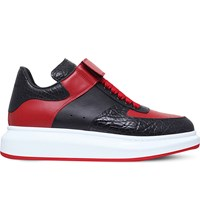 Alexander Mcqueen Dunk Strap Leather High Top Trainers Blk Red