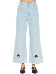 Coliac Wide Leg Cotton Denim Jeans W Cutouts Light Blue