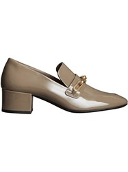 Burberry Link Detail Patent Leather Block Heel Loafers Grey