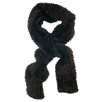Chesca Faux Fur Knitted Scarf Black