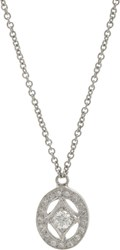 Cathy Waterman Women's Oval Frame Pendant Necklace Colorless