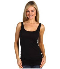 Three Dots Lightweight Viscose Long Fitted Tank Black Women's Sleeveless