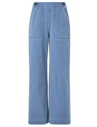 Mih Jeans Salty Blue Nautical Cropped Trousers