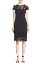 St. John Women's Collection Rumba Floral Lace Trim Knit Dress
