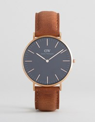 Daniel Wellington Classic Black Durham Leather Watch With Rose Gold Dial 40Mm Tan