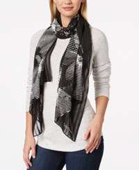 Calvin Klein Graphic Floral Chiffon Scarf A Macy's Exclusive Style Black