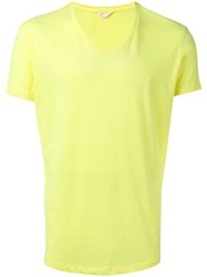 Orlebar Brown V Neck T Shirt Men Cotton Polyester L Yellow Orange