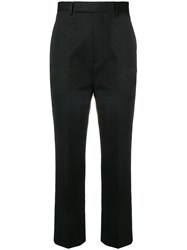 Rick Owens Cropped Pleated Trousers Black