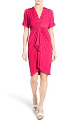 Women's Catherine Catherine Malandrino 'Emily' Cold Shoulder Twist Front Dress Pink Bliss