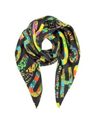 Moschino Black And Multicolor Signature Print Twill Silk Square Scarf