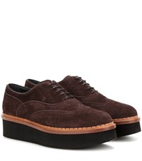 Tod's Platform Suede Oxford Shoes Brown