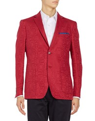 Tallia Orange Linen Blend Two Button Sportcoat Red