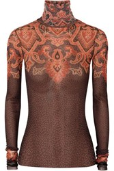 Etro Printed Stretch Tulle Turtleneck Top Brown
