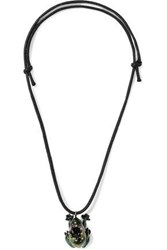 Red Valentino Enameled Gold Tone And Cord Necklace Black