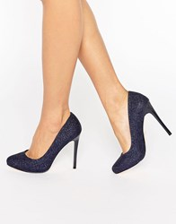 Faith Candy Shimmer Platform Shoes Navy