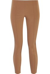 The Row Caro Cropped Stretch Twill Skinny Pants Brown