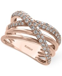 Effy Pave Rose By Diamond Crisscross Ring 3 4 Ct. T.W. In 14K Rose Gold