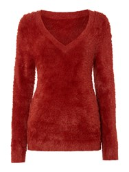 Therapy Fluffy V Neck Jumper Burnt Orange