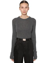 Prada Cropped Wool Knit Sweater Dark Grey