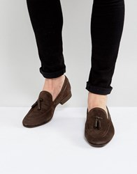 Hudson H By Pierre Suede Loafers In Brown