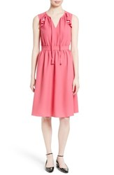 Kate Spade Women's New York Ruffle Crepe Fit And Flare Dress Tile Pink