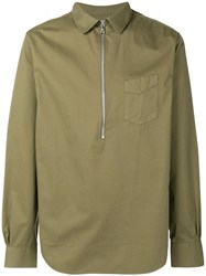 Officine Generale Half Zip Fitted Shirt Green