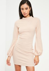 Missguided Pink High Neck Puff Sleeve Bodycon Dress