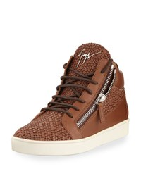 Giuseppe Zanotti Men's Woven Leather Mid Top Sneaker Brown