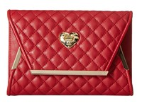 Love Moschino Envelope Clutch With Gold Detailing Red
