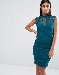 Lipsy High Neck Lace Dress Teal Green