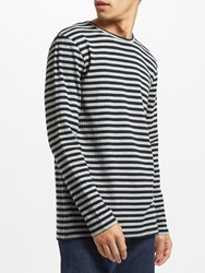 Samsoe And Samsoe Baden Long Sleeve Stripe T Shirt Grey Mel Stripe