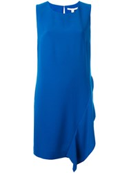 Diane Von Furstenberg Sleeveless Day Dress With Asymmetric Frill Detail Blue
