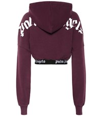 Palm Angels Cropped Cotton Hoodie Purple