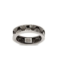 Steve Madden Stainless Steel Ribbed Crown Optic Textured Ring Burnished Silver