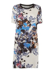 Part Two Floral Round Neck Short Sleeve Dress Multi Coloured Multi Coloured