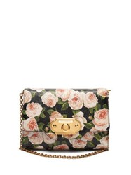 Dolce And Gabbana Welcome Evening Floral Print Leather Clutch Black Multi