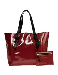 Foley Corinna Ashlyn Leather Tote And Honey Suede Pouch Set Bordeaux
