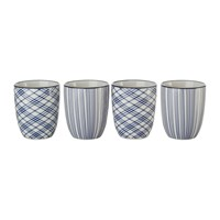 Pols Potten Assorted Check And Stripe Cups Set Of 4