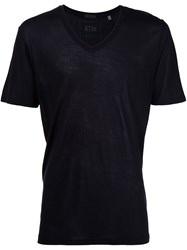 Atm Anthony Thomas Melillo Lightweight V Neck Jersey T Shirt Black
