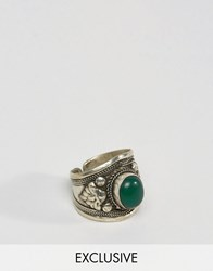 Reclaimed Vintage Inspired Ring In Silver With Stone Silver