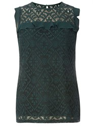 Dorothy Perkins Tall Green Lace Frill Top