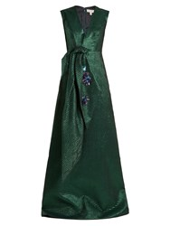 Delpozo Embellished Bow Polka Dot Jacquard Gown Green Multi