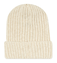 Beams Plus Ribbed Knitted Hat White
